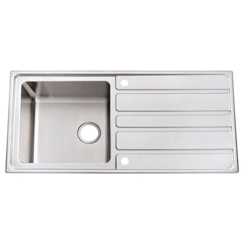 Cooke & Lewis Lunda 1 Bowl Stainless Steel Sink with Reversible Drainer