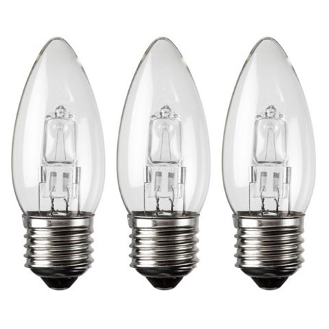 Diall Edison Screw Cap (E27) 28W Halogen Candle Light Bulb, Pack of 3