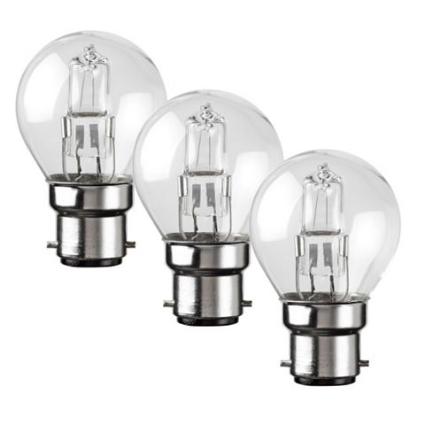 Diall Bayonet Cap (B22) 28W Halogen Round Light Bulb, Pack of 3