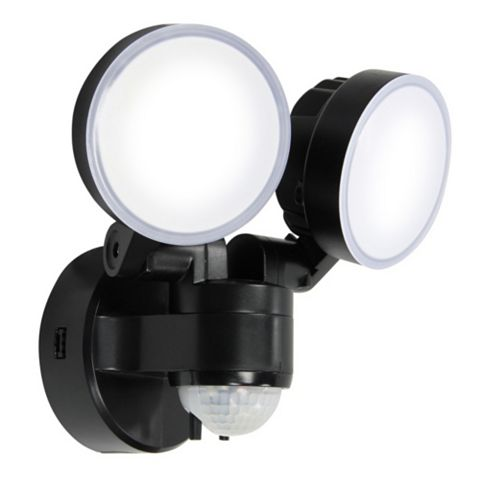 Blooma Stata Black 16W Mains Powered External Pir Twin Security Light