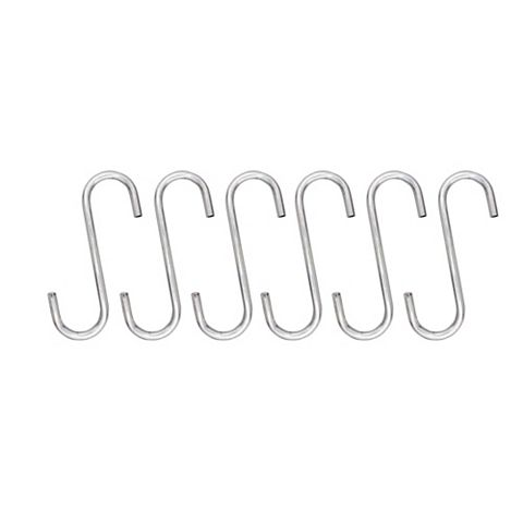 Cooke & Lewis Hastings Chrome Finish Stainless Steel Over-Rail Hook, Pack of 6