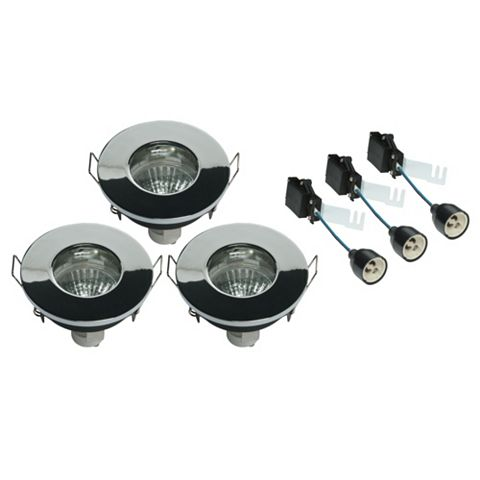 Diall Chrome Effect LED Fixed Downlight 4.8 W, Pack of 3