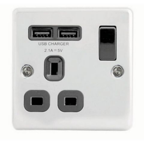 Lap 13A Chrome Effect Switched Socket & 2 x USB