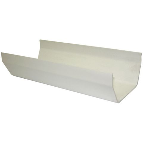 Floplast Square Gutter (Dia)114mm (W)114mm (L)3 M, White, Pack of 6