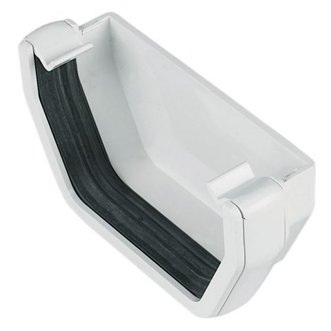 Floplast Square Gutter Stop End (W)114 mm, White
