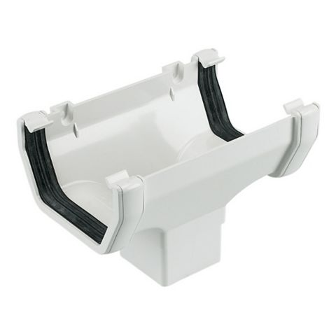 Floplast Square Gutter Running Outlet (W)114 mm, White