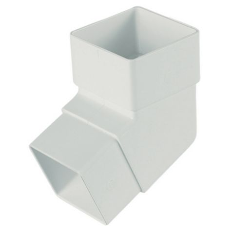 Floplast Square 112.5 ° Gutter Downpipe Offset Bend (Dia)65 mm, White