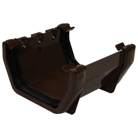 Floplast Square Gutter Union Bracket (W)114 mm, Brown
