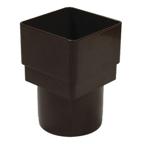 Floplast Square to Round Square/Round Downpipe Adaptor, Brown