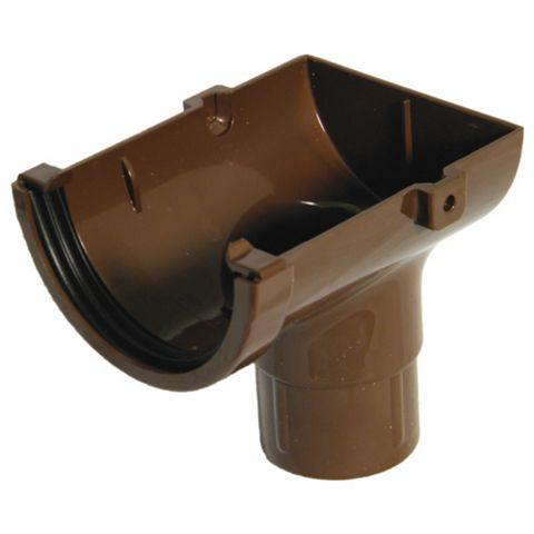 Floplast Miniflo Gutter Stop End Outlet (Dia)76 mm, Brown