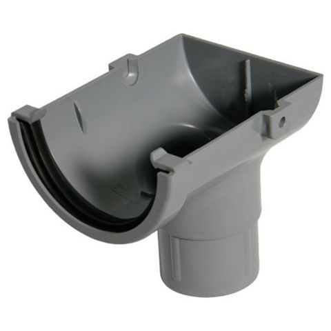 Floplast Miniflo Gutter Stop End Outlet (Dia)76 mm, Grey