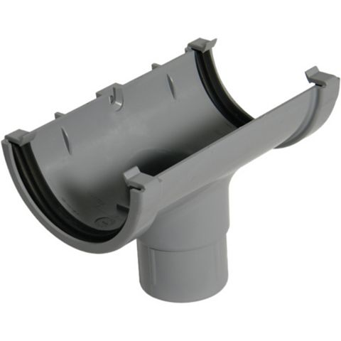 Floplast Miniflo Gutter Running Outlet (Dia)76 mm, Grey