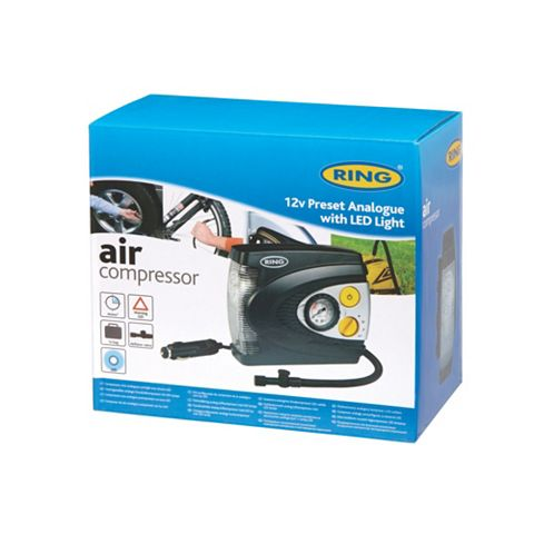 Ring Analogue Air Compressor 3.2m Cable & 3 Piece Adaptor Kit RAC625