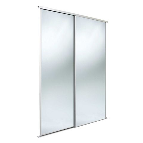 Classic Mirrored Sliding Wardrobe Door (H)2220 mm (W)762 mm, Pack of 2