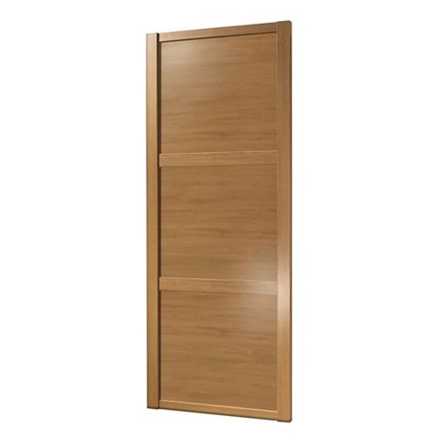 Shaker Traditional Oak Effect Sliding Wardrobe Door (H)2220 mm (W)762 mm