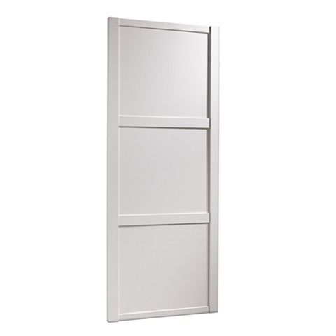 Shaker White Wood Effect Sliding Wardrobe Door (H)2220 mm (W)914 mm