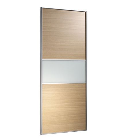 Fineline Silver Frame Oak Effect Sliding Wardrobe Door (H)2220 mm (W)914 mm