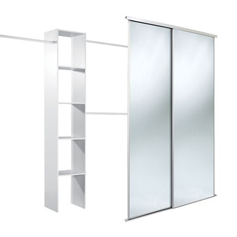 Traditional Full Length Mirror White Sliding Wardrobe Door Kit (H)2220 mm (W)1200 mm