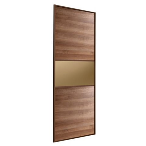 Fineline Walnut & Bronze Sliding Wardrobe Door (H)2220 mm (W)914 mm