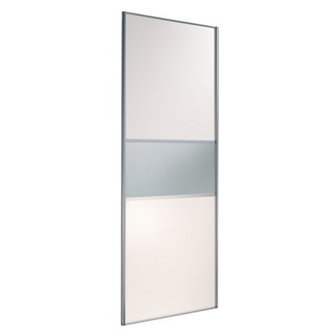 Fineline White & Mirror Sliding Wardrobe Door (H)2220 mm (W)914 mm