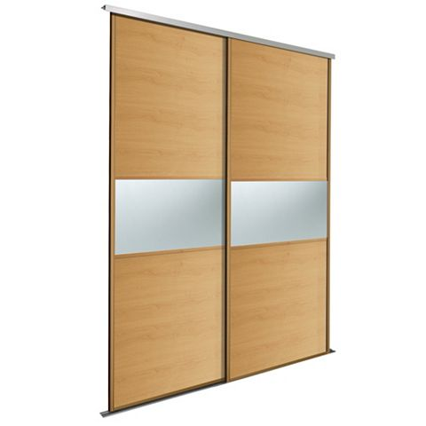 Fineline Oak & Mirror Sliding Wardrobe Door Kit (H)2.22 M (W)762 mm, Pack of 2