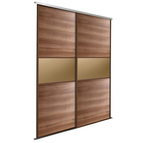 Fineline Walnut & Bronze Sliding Wardrobe Door Kit (H)2.22 M (W)762 mm, Pack of 2