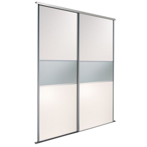 Fineline White & Mirror Sliding Wardrobe Door Kit (H)2.22 M (W)762 mm, Pack of 2