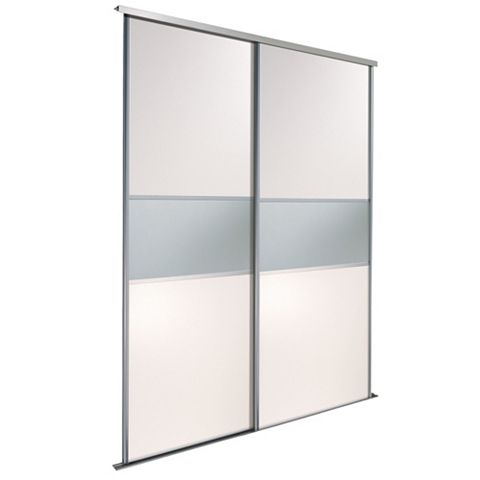 Fineline White & Mirror Sliding Wardrobe Door Kit (H)2.22 M (W)610 mm, Pack of 2