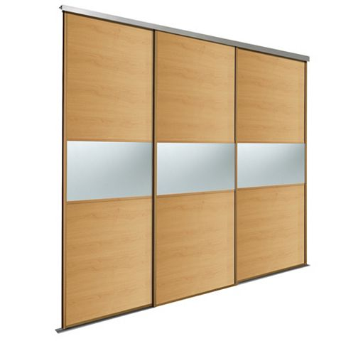 Fineline Oak & Mirror Sliding Wardrobe Door Kit (H)2.22 M (W)914 mm, Pack of 3