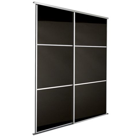 Premium Select Black Sliding Wardrobe Door Kit (H)2.22 M (W)762 mm, Pack of 2