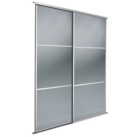 Premium Select Smoked Grey Mirror Sliding Wardrobe Door Kit (H)2.22 M (W)914 mm, Pack of 2
