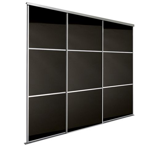 Premium Select Black Sliding Wardrobe Door Kit (H)2.22 M (W)914 mm, Pack of 3