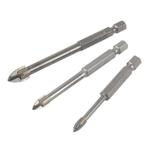JCB Glass & Tile Drill Bit (Dia)5/6/8mm (L)65/75/85mm, 3