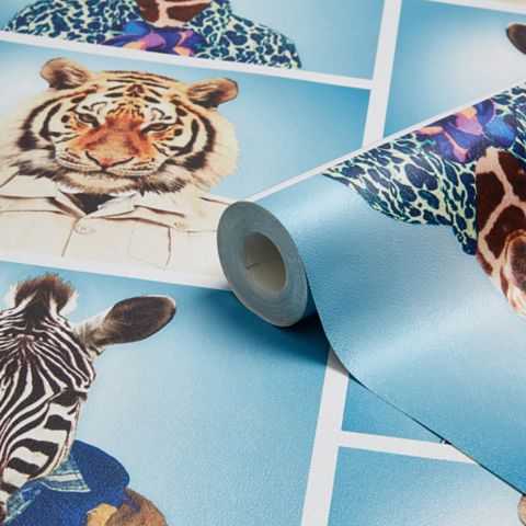 Blue Animal Photo Booth Mica Wallpaper