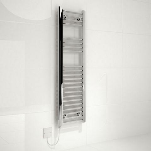Kudox Flat Ladder ELECTRIC Towel Rail Silver Chrome (H)1100 (W)300mm