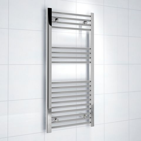 Kudox Flat Ladder Towel Rail Silver Chrome (H)1000 (W)450mm