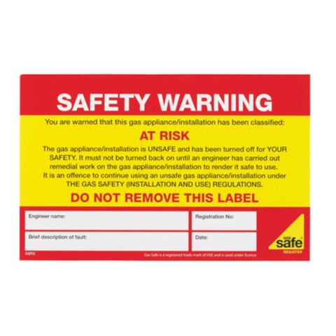 Gas Safe At Risk Label