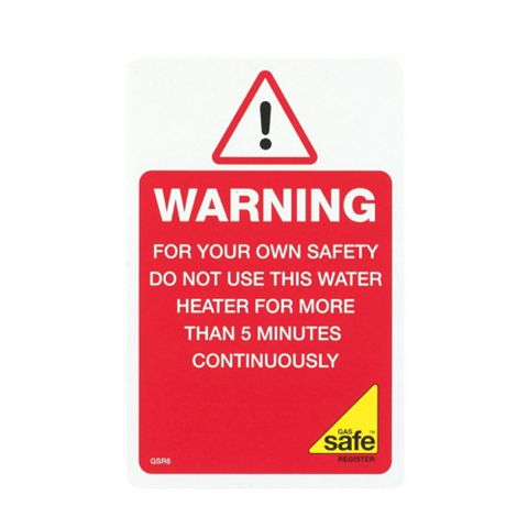 Gas Safe Flue-Less Label