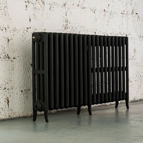 Arroll 4 Column Radiator, Black Primer (W)1234 mm (H)660 mm
