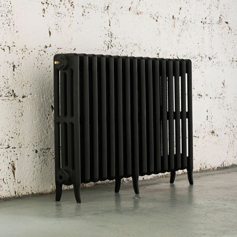 Arroll 4 Column Radiator, Black Primer (W)874 mm (H)660 mm