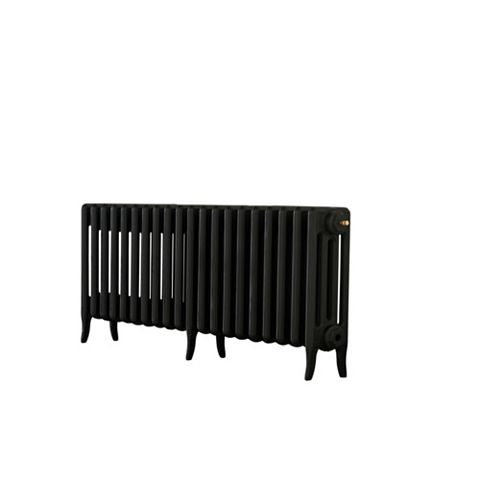 Arroll 4 Column Radiator, Black Primer (W)1234 mm (H)460 mm