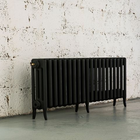Arroll 4 Column Radiator, Black Primer (W)1114 mm (H)460 mm