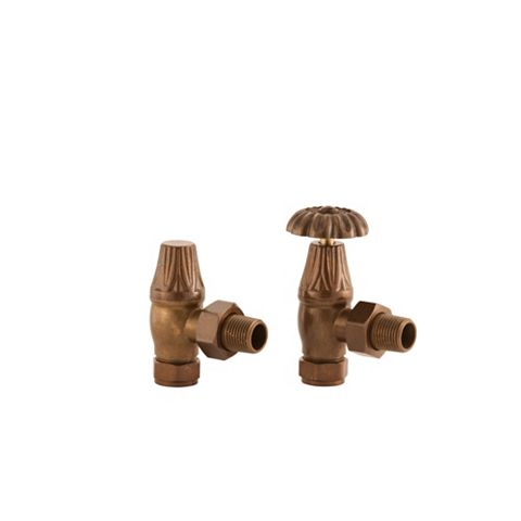 Arroll Antique Copper Angled Manual Radiator Valve