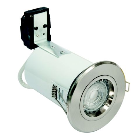 Robus Fire Rated Brushed Chrome Effect LED Fixed Downlight