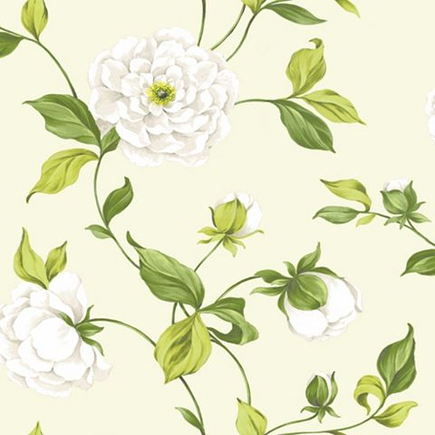 Camelia Cream & Green Floral Mica Effect Wallpaper