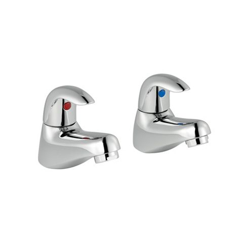 Cooke & Lewis Wave Chrome Hot & Cold Bath Tap, Pack of 2