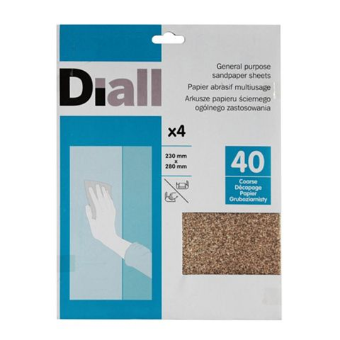 Diall 40 Grit Coarse Sandpaper Sheet, Pack of 4