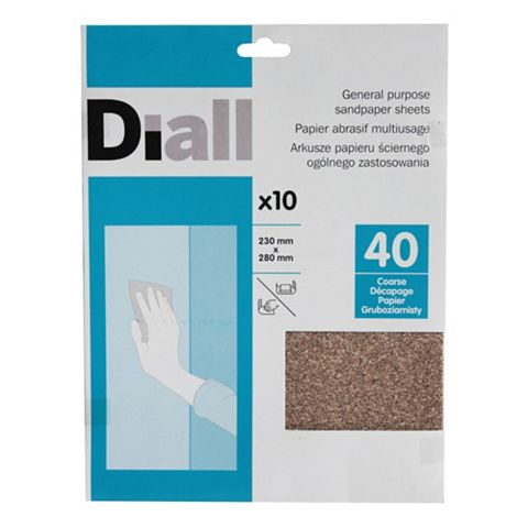 Diall 40 Coarse Sandpaper Sheet, Pack of 10