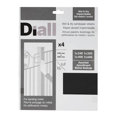 Diall Mixed Grit Assorted Sandpaper Sheet, Pack of 4