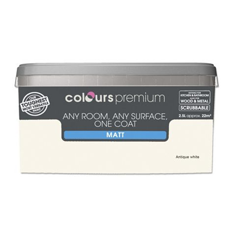 Colours Premium Any Room One Coat Antique White Matt Emulsion Paint 2.5L